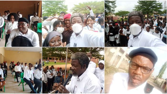 Old students of Abuja secondary school return to class dressed in uniform, receive lecture after 23 years