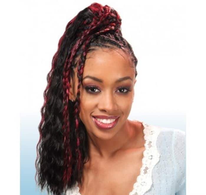 Ponytail with maroon strands