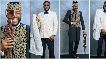 BBNaija 2021: Ebuka slays again, shows up with 'magical' staff from his dad when he was a housemate
