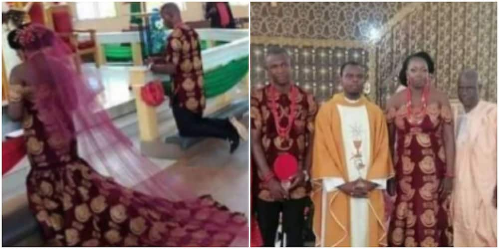 Nigerian couple show up for church wedding in unusual outfits (photo)