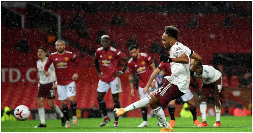Pierre-Emerick Aubameyang becomes first Arsenal player to score Premier League penalty at Old Trafford