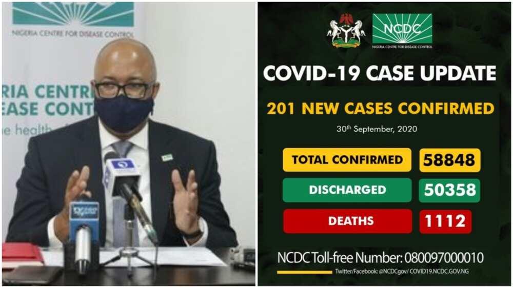 Coronavirus: NCDC announces 201 new COVID-19 cases, total now 58,848