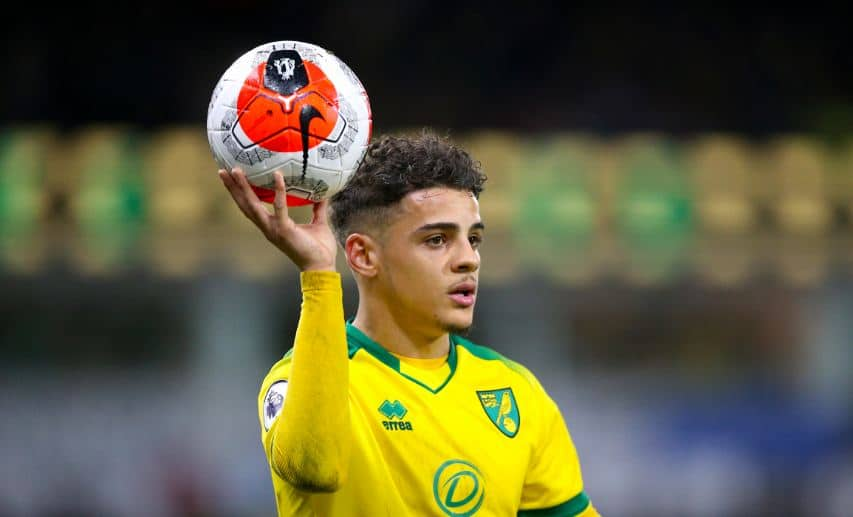 Max Aarons in action for Norwich City