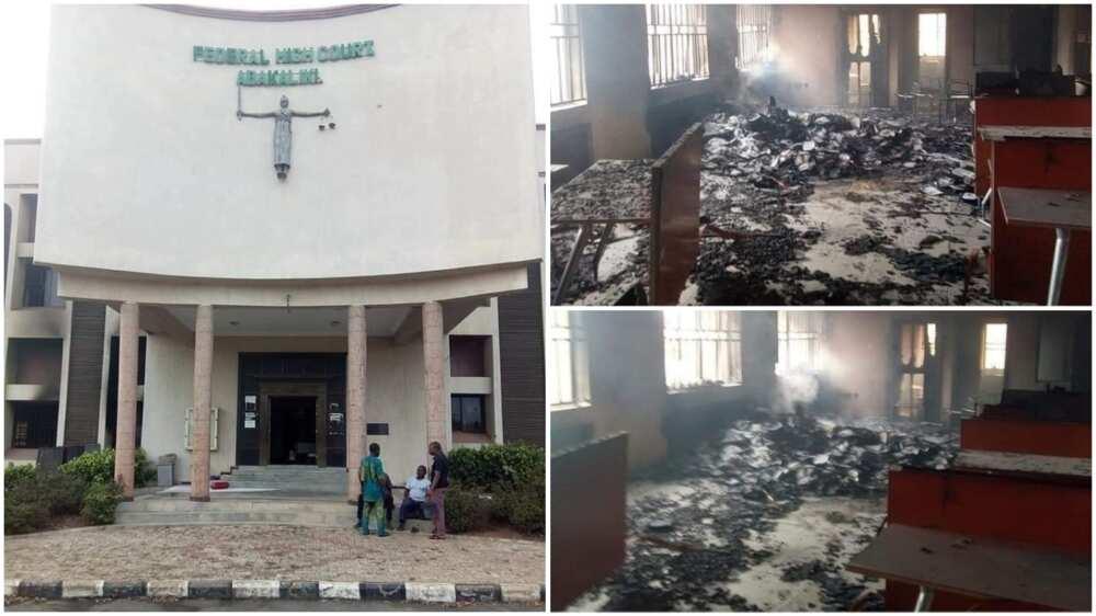 Tension as Gunmen Set Ablaze Federal High Court in Ebonyi State
