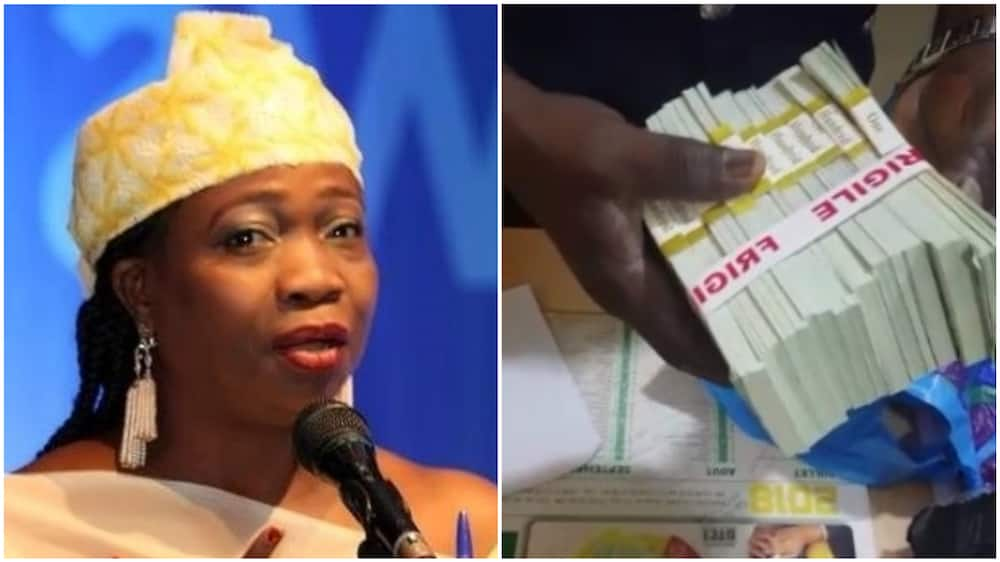 A collage of Abike Dabiri, head of NIDCOM, and the dollar notes. Photos sources: Twitter/NIDCOM/Channels TV