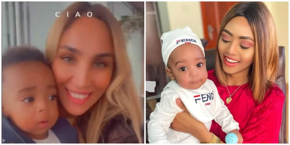 Sister wives: Laila Nwoko spend time with co-wife Regina Daniel's son baby Munir