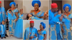 Chacha Eke Faani's baby goes to church, actress' family dazzles in blue for dedication ceremony