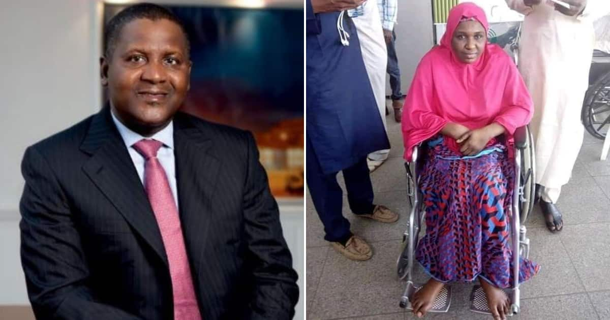 Wheelchair-bound woman begs Dangote to give her the dollars he promised Super Eagles