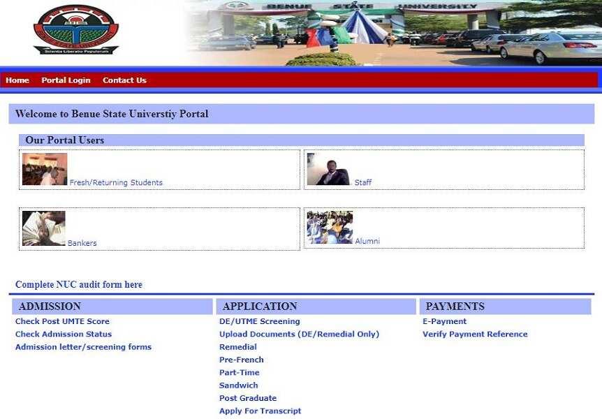 Benue State University portal