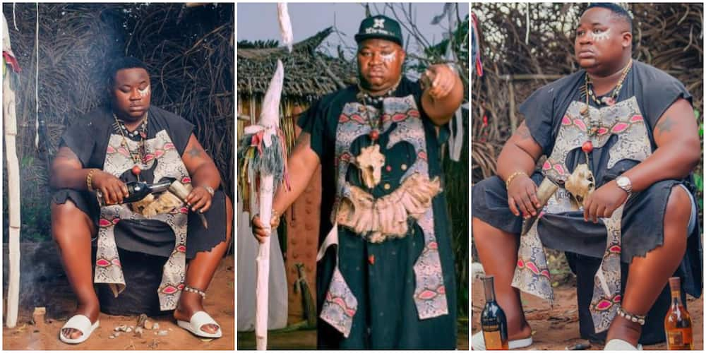 Cut Soap for Me: Nigerians React as Cubana Chiefpriest Wears Spiritualist Outfit to Visit Shrine