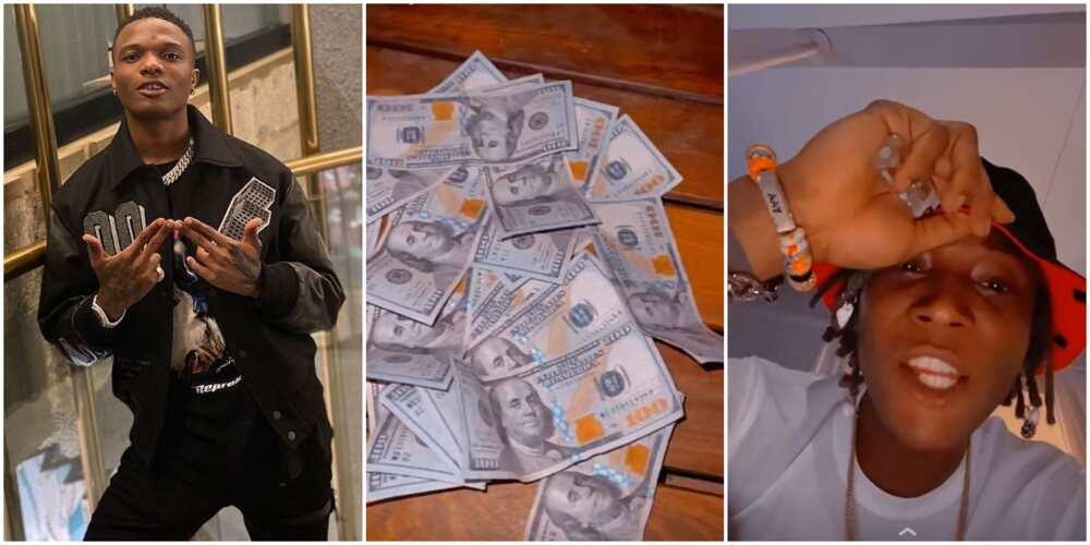 Singer Bella Shmurda Loses His 'Cool' as Wizkid Gives Him over N800k in Dollars