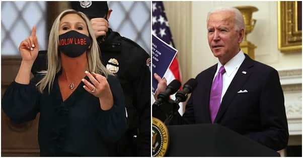 Greene is a fierce critic of Biden. Photo: Chip Somodevilla, Alex Wong Source: Getty Images