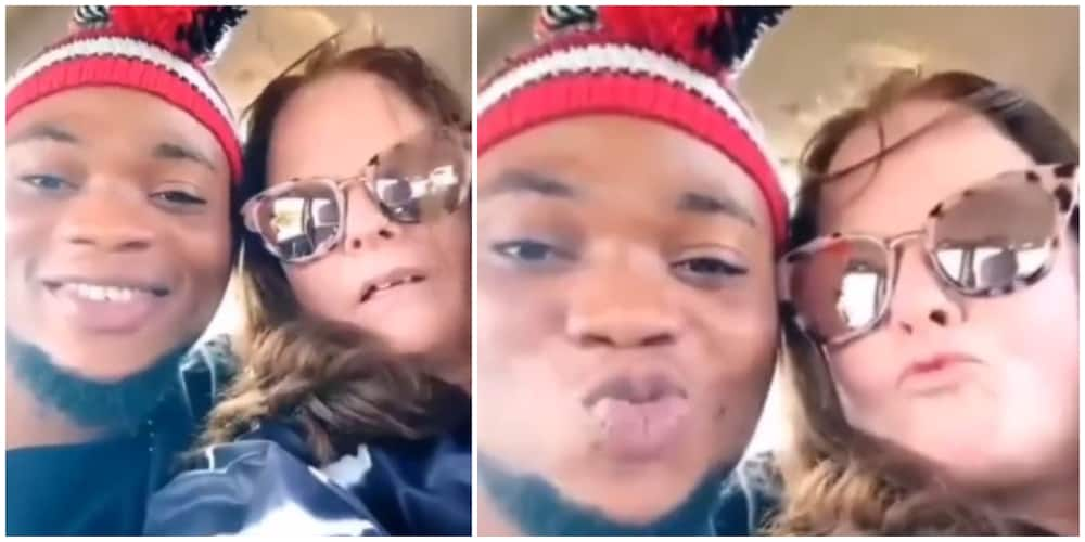 Many react as Oyinbo lady flies into the country to met her Nigerian sweetheart