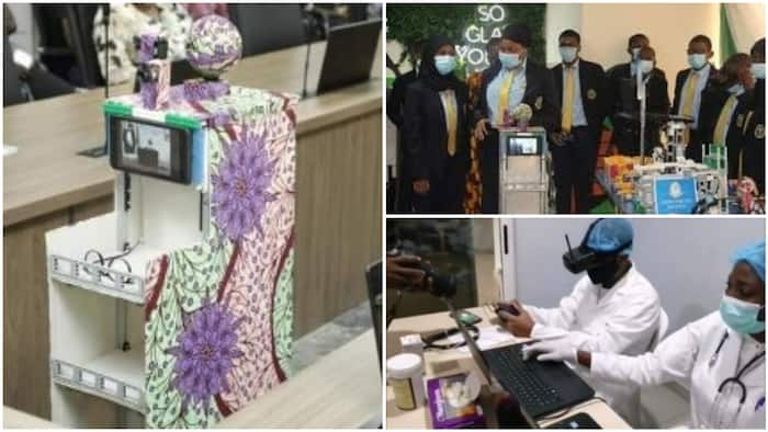 Impressive! Nigerian secondary school students build Ankara-styled mobile robot to protect doctors from COVID-19, Atiku reacts, shares video