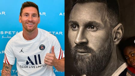 Talented Nigerian artist paints sensational portrait of Argentine legend Lionel Messi
