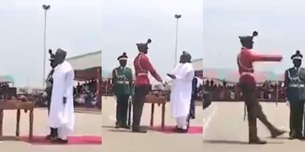 """Hilarious moment President Buhari met the """"tallest man in the Nigerian Army"""""""