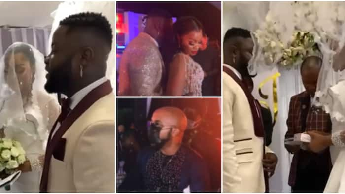 Banky W, Orezi, other celebrities show up for Skales as he ties the knot with lover in white wedding ceremony