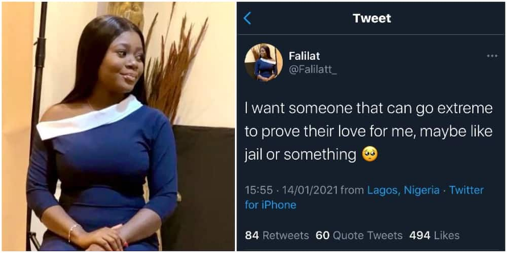 Reactions as lady says she needs someone to prove love to her by going to jail