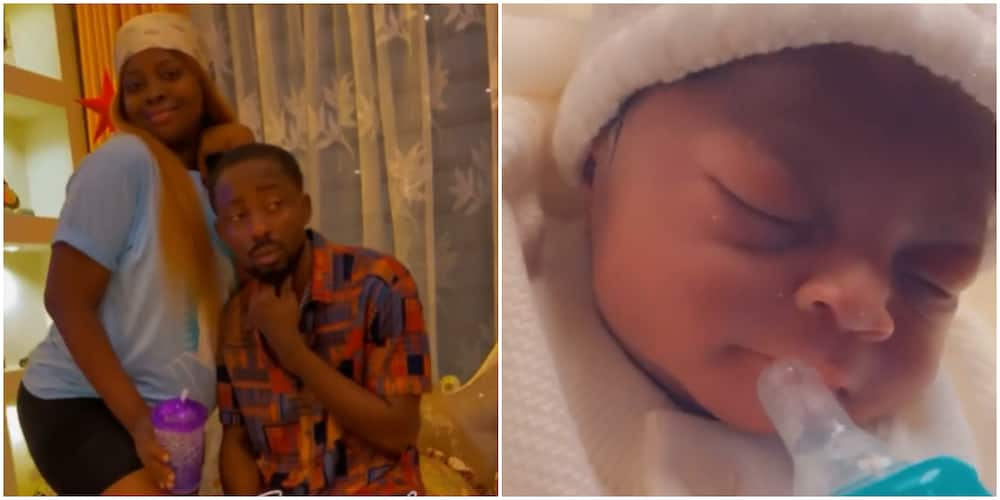 Rapper Erigga and wife welcome another child, see cute video of newborn
