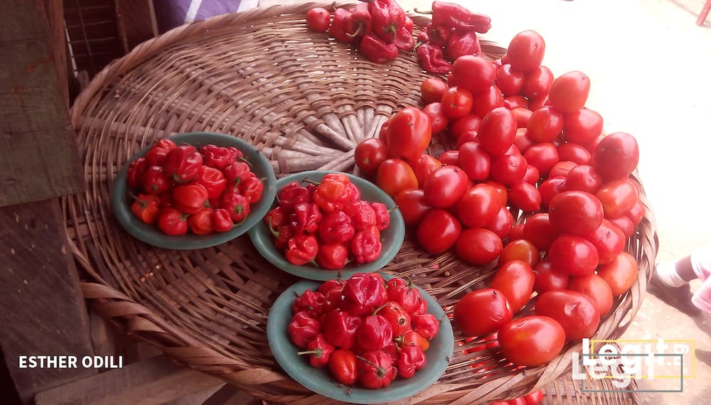 The tomato on display is sold from N200 and N300 upwards while pepper is affordable, onion remains very expensive in the market. Photo credit: Esther Odili