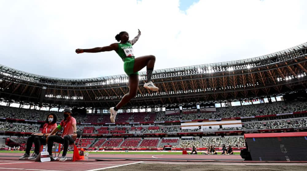 Nigerian Athlete Ese Brume Reacts After Winning Nigeria's First Medal at Tokyo 2020 Olympic Games