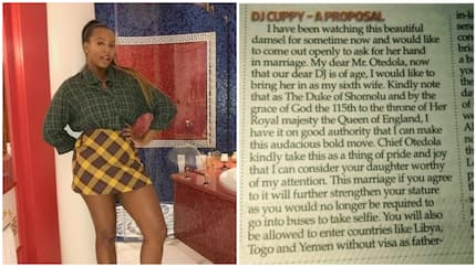 Duke of Shomolu proposes to DJ Cuppy in a newspaper, says he wants her as his 6th wife