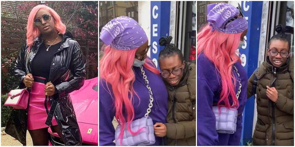 On the Streets of London: Young Girl Breaks Down in Tears after Bumping into DJ Cuppy, Fans React