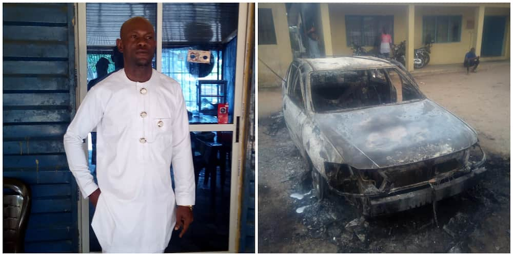 Owerri prison break: Policeman laments losing his car in the attack, shares photos of his burnt avalon