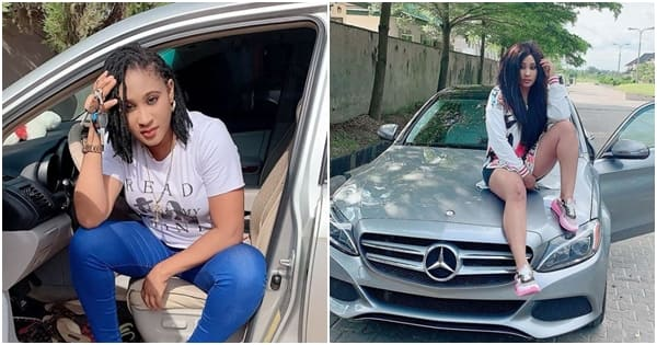 Nollywood actress Bella Ebinum celebrates as she buys Benz