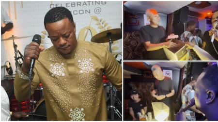 Gospel singer Lanre Teriba shuns baby mama call-out, posts video showing how 'oyinbo' men rained cash on him