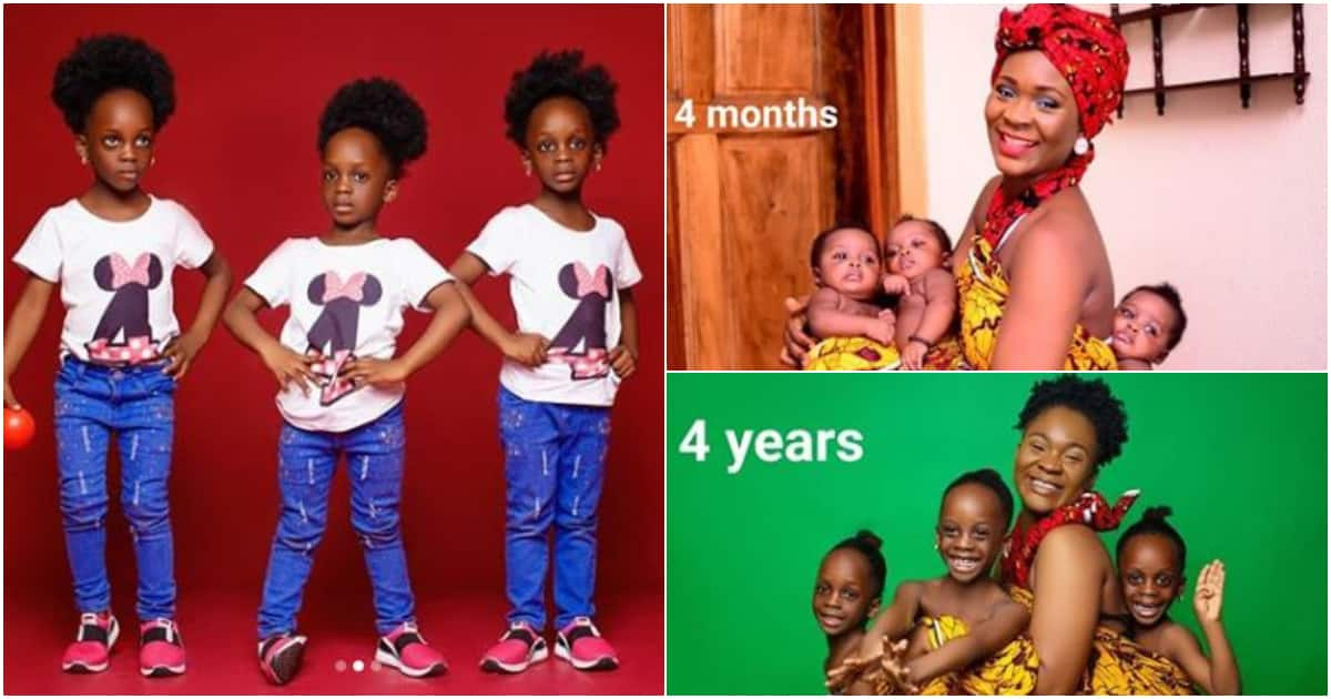 4 months meet 4 years - Nigerian woman says as she marks her triplets' birthdays