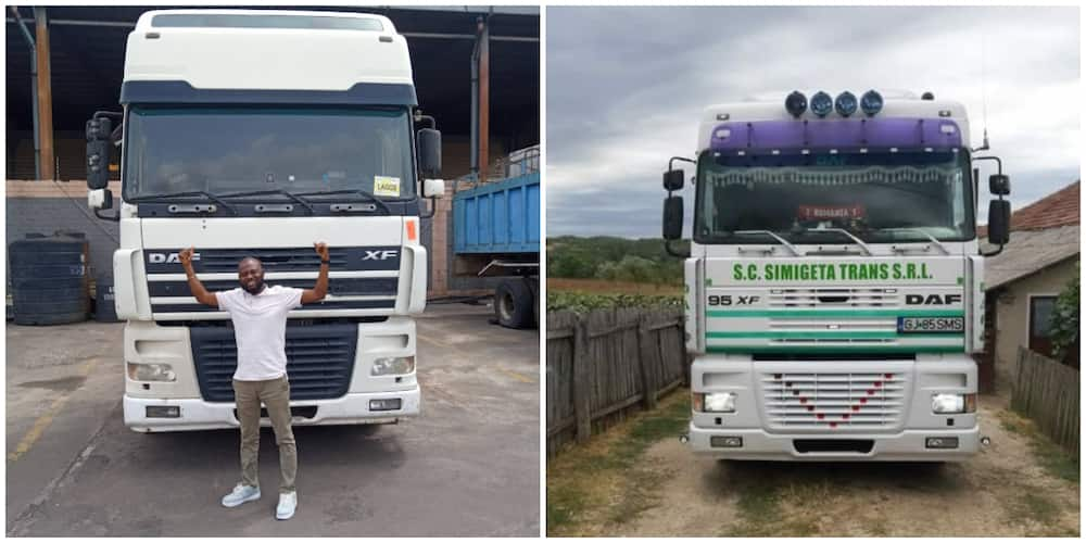 Nigerian man shows off the big truck he bought for his business, says it is his second baby, many react