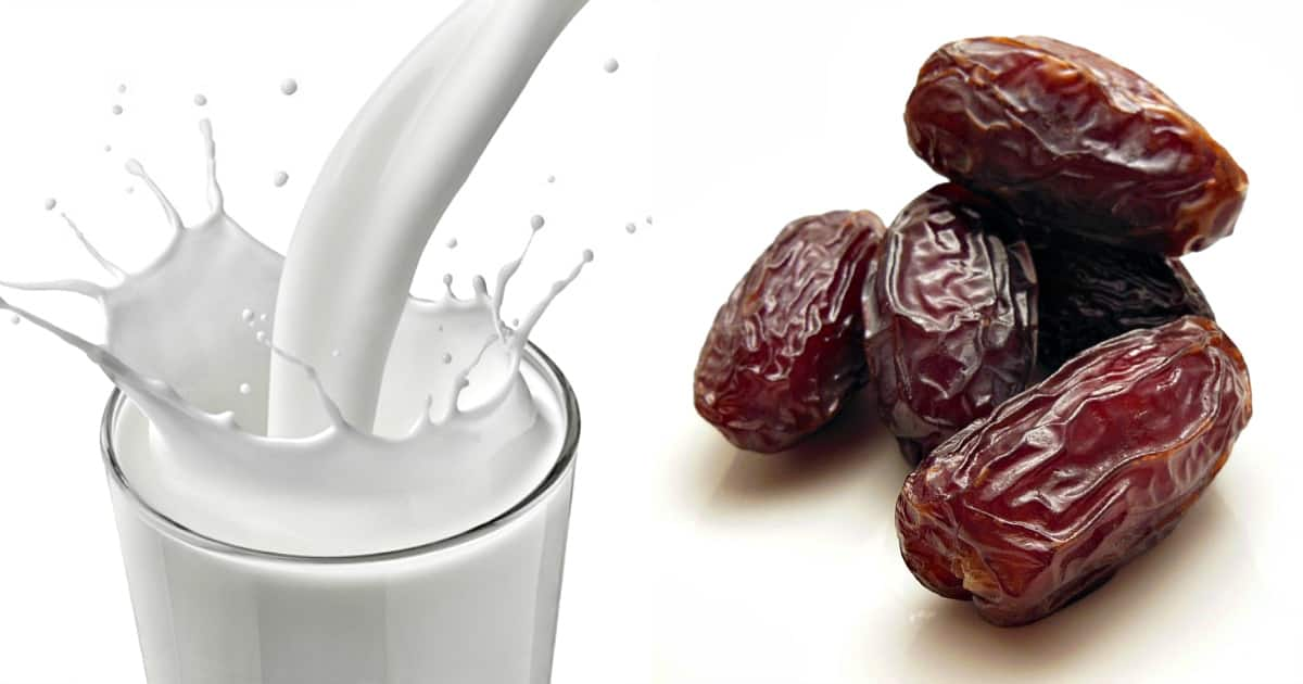 Dates and glass of milk