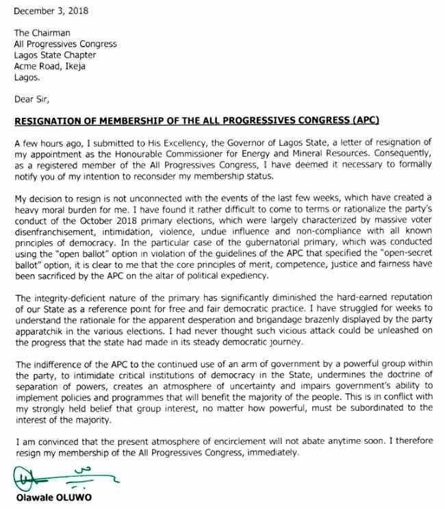 Olawale Oluwo's resignation letter