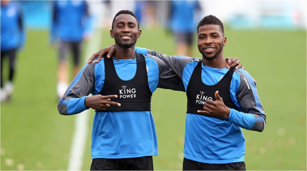 Kelechi Iheanacho reacts after scoring 2 goals helping Leicester defeat Manchester United in FA Cup