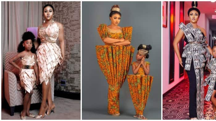 Nigerian fashion designer Luminee twins with her daughter in 8 adorable photos