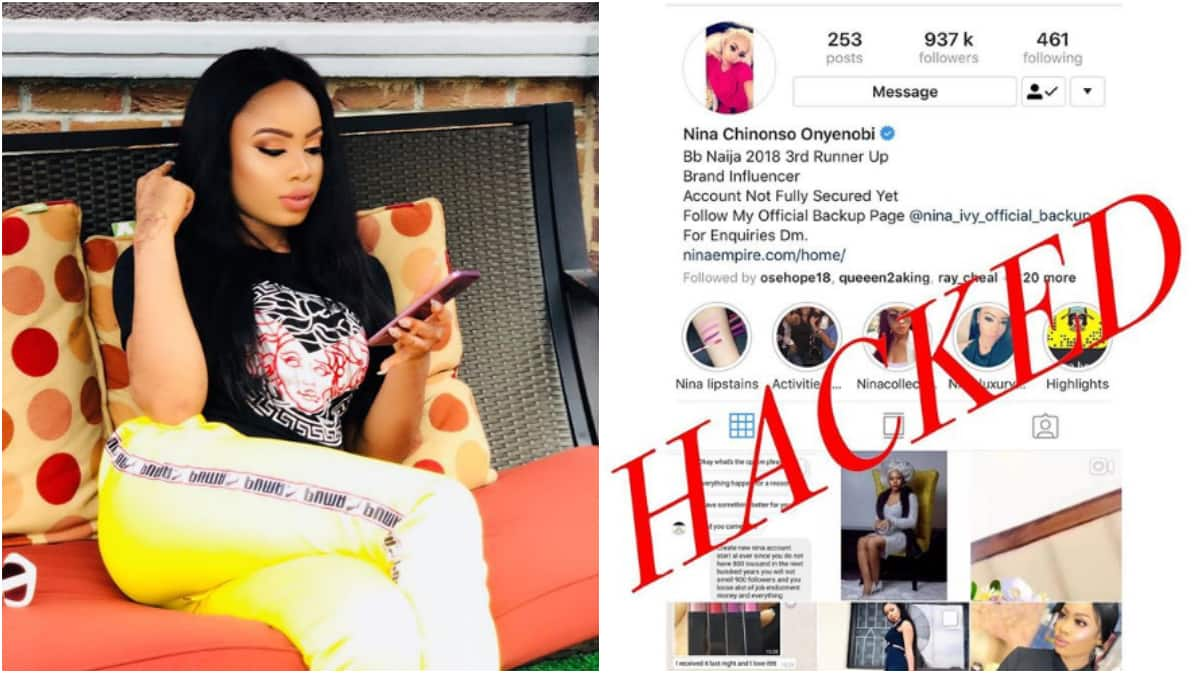 Image result for BBNaija's Nina account hacked