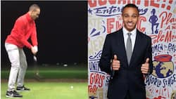Former Super Eagles star dumps football for golf, shows he's gradually becoming a professional golfer (video)