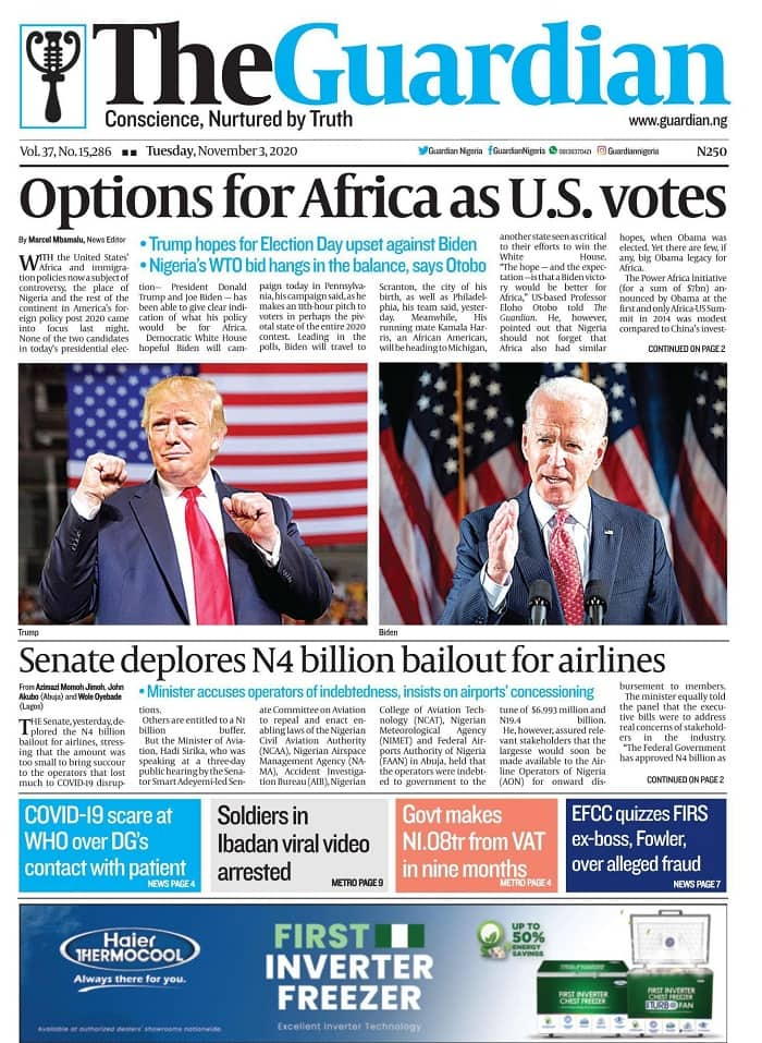 Newspapers review for Tuesday, November 3