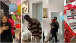 Iyabo Ojo's son stunned as actress shows up in Turkey with cake, trumpet and other surprises for his birthday