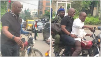Lagos traffic is no respecter of anyone: Popular former governor takes Okada to avoid missing flight, shares photos