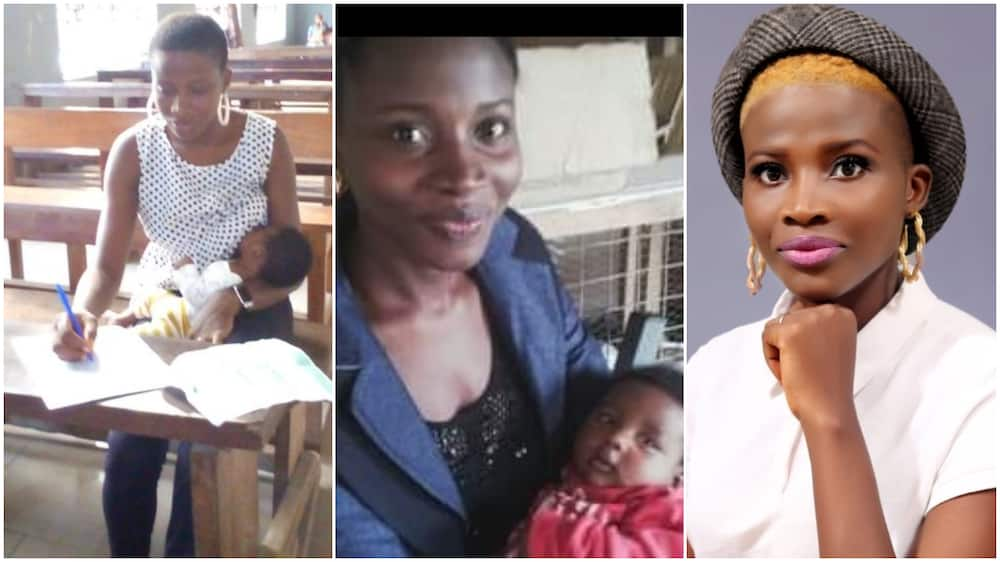 Mother breastfeeds baby in one hand as she write final exams in another, Nigerians react