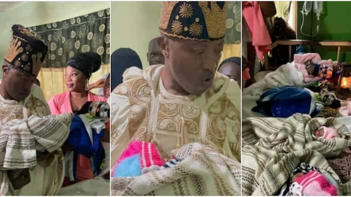 Joy as Oluwo of Iwo visits 4 babies born at once on his 54th birthday, many react as he donates to new mum