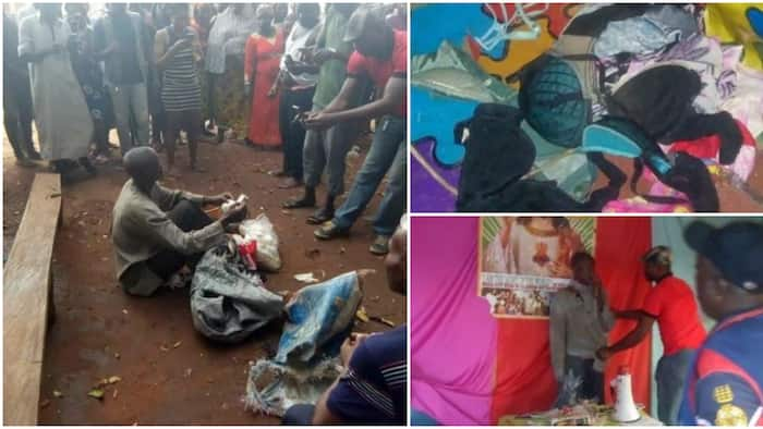 Watch video of how a Nigerian pastor was caught with bag filled with female underwear in Edo (photos)