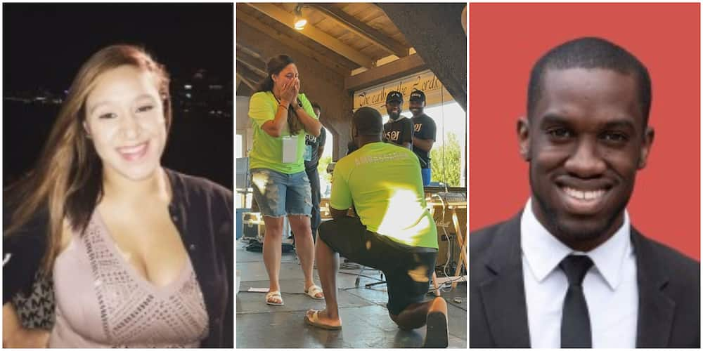 Reactions as man proposes marriage to his American girlfriend at a church program