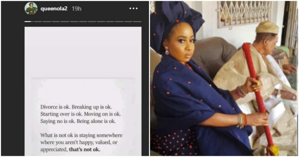 Divorce is ok, breaking up is ok, says Alaafin of Oyo's wife Queen Ola