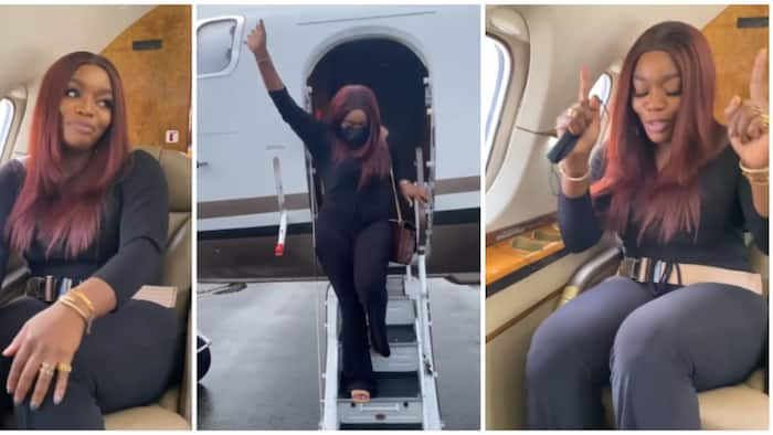 Hilarious video of Bisola's reaction following her first time on private jet