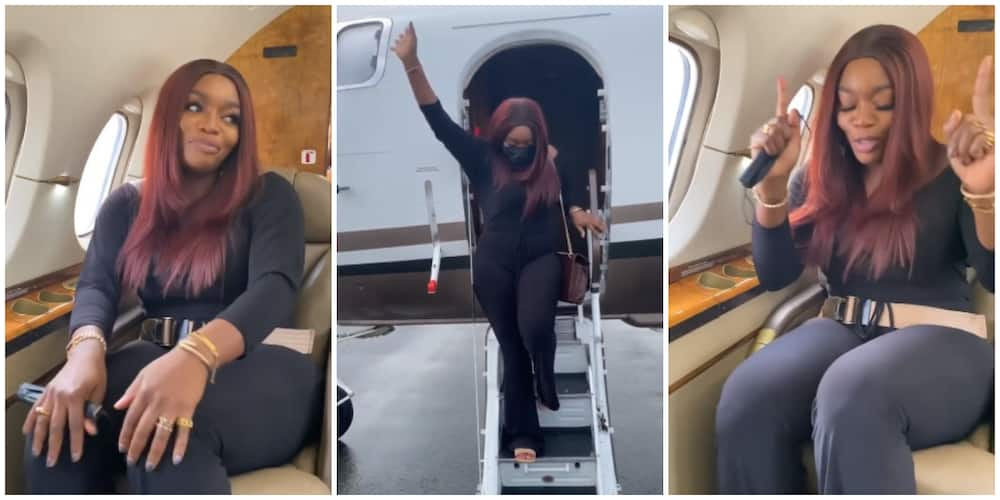 Photos of Bisola on a private jet.