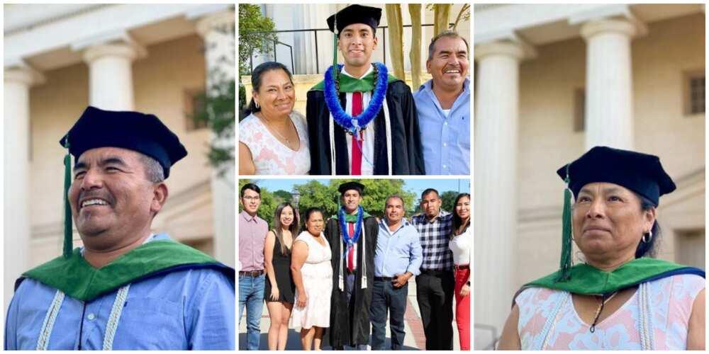 Reactions as man wears parents his academic cap as he praises them for sending him to US university