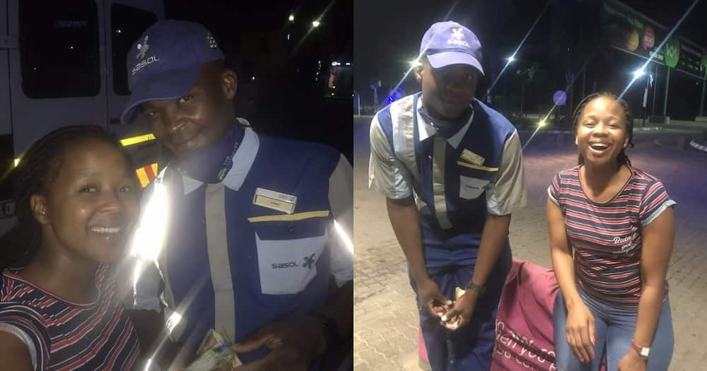 Kind Petrol Attendant Gets Huge Praises on Social Media for Making Young Lady's Day